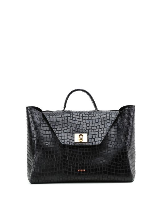 HEIDA-Medium-Top-Handle-Bag-Croco-Black-1