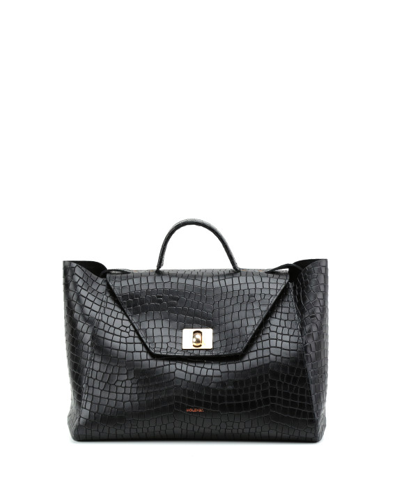 HEIDA-Medium-Top-Handle-Bag-Croco-Black-1