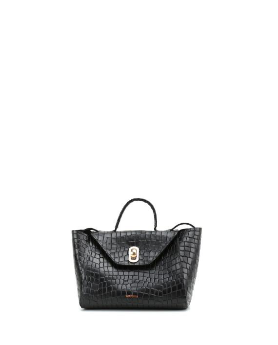 HEIDA-Small-Top-Handle-Bag-Croco-Black-1