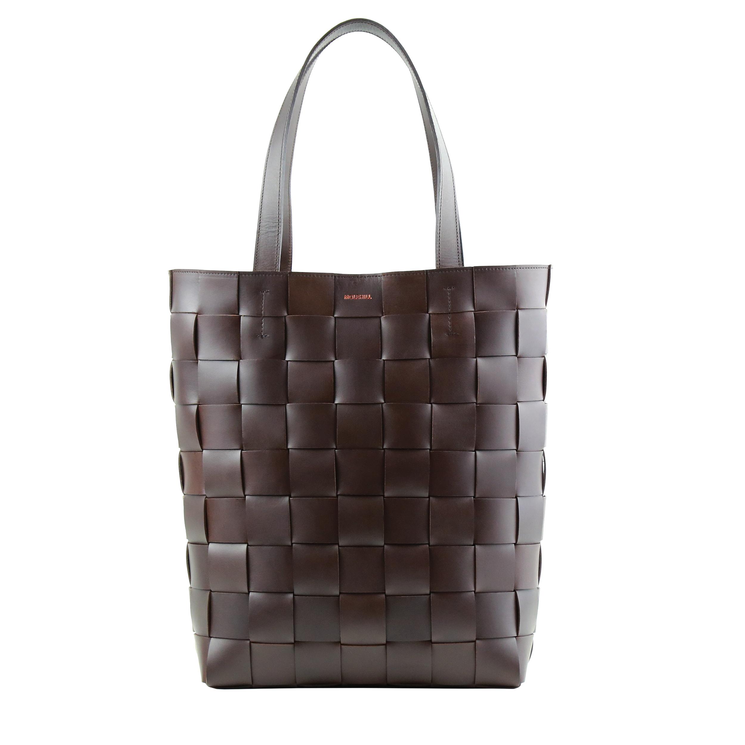 Pane Shopper Woven Bag Horizontal Dark Chocolate-1