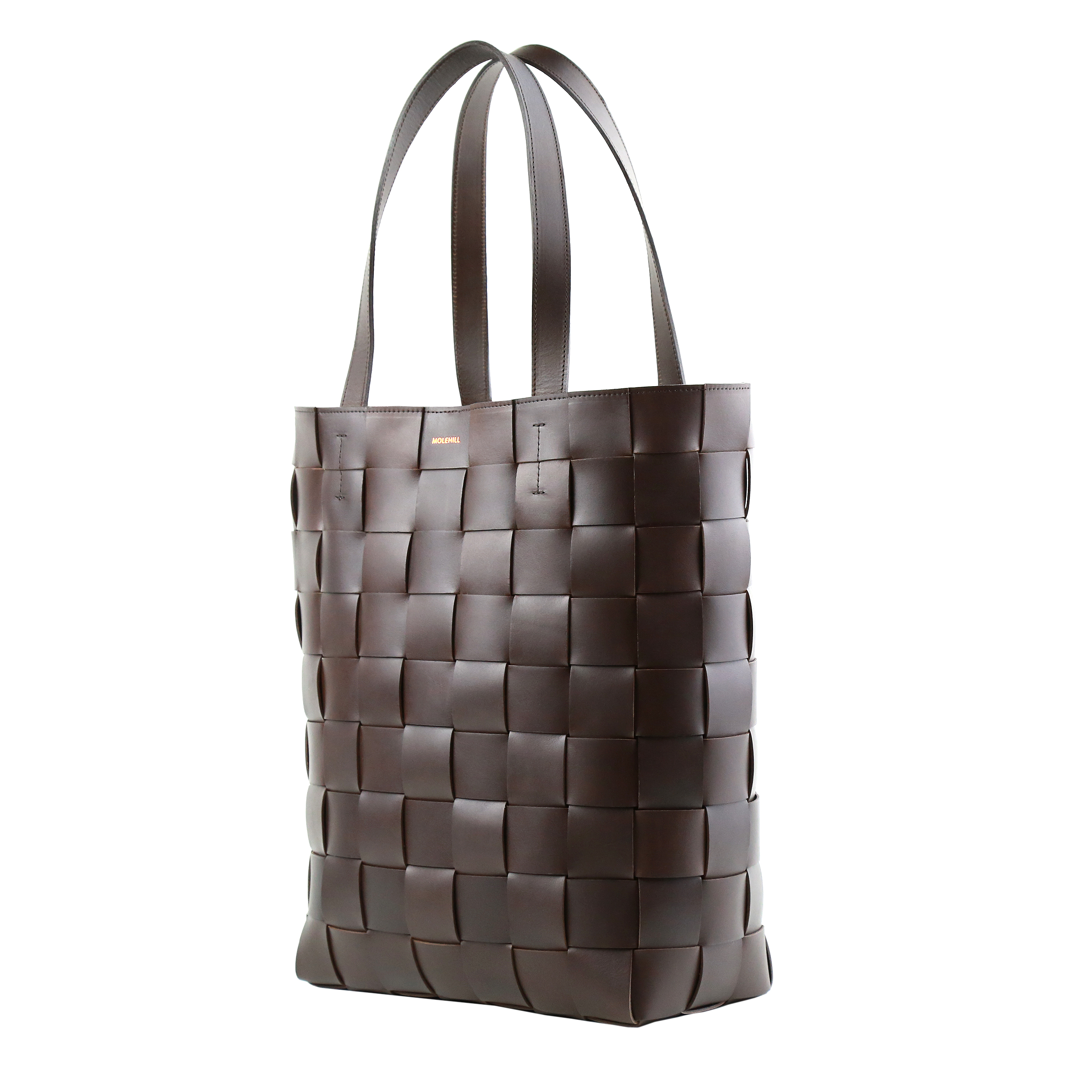Pane Shopper Woven Bag Vertical Dark Chocolate-2