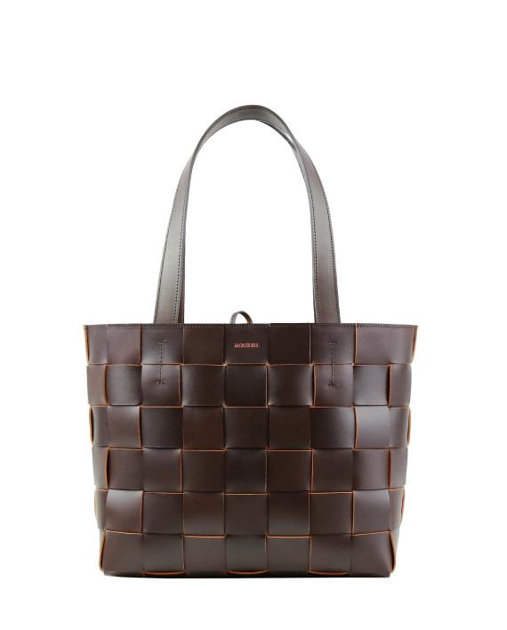 Pane Tote Woven Bag Dark Brown 2-1