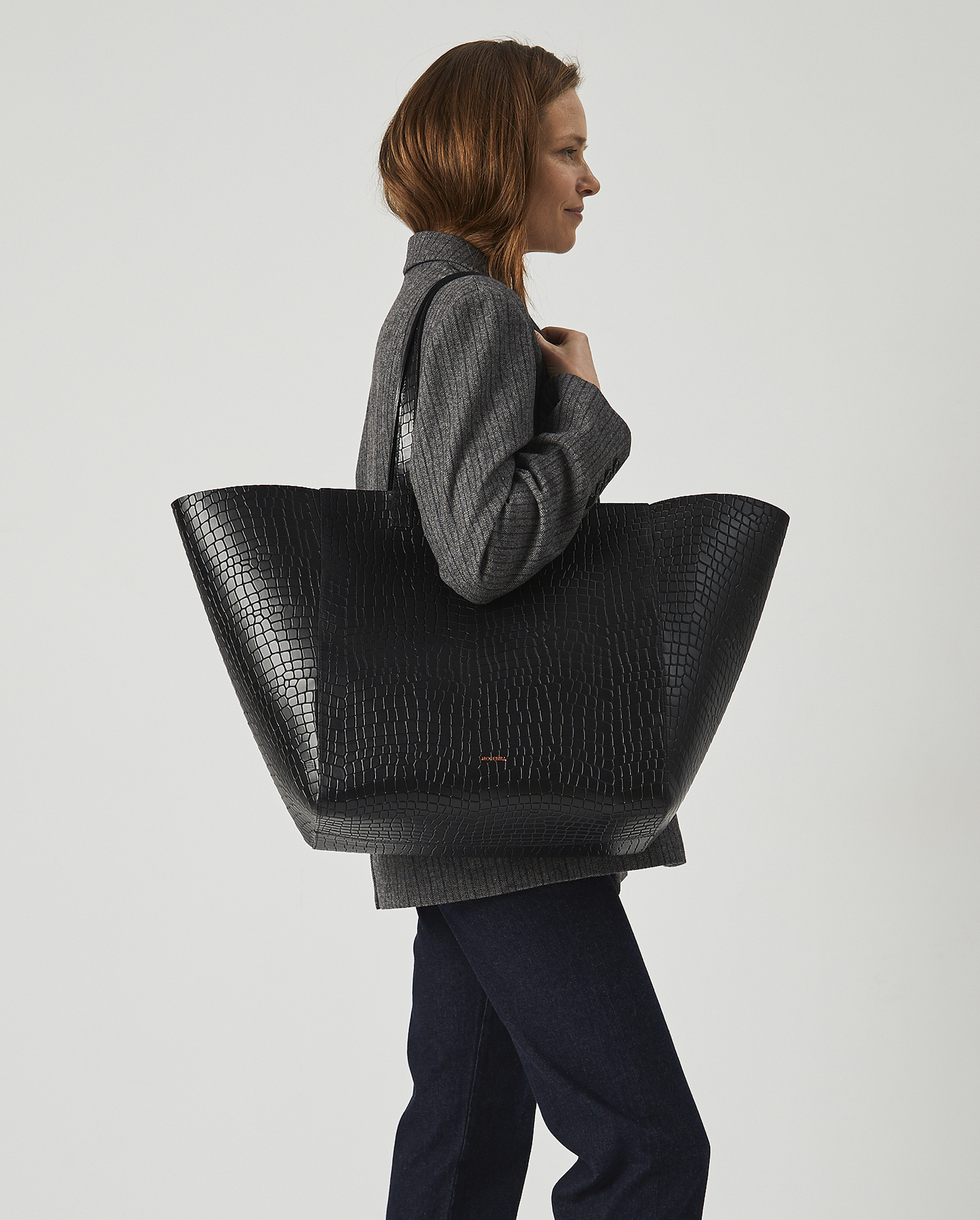 Torba ESTE Large Zip Weekender Bag Croco Black 5
