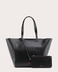 Torba ESTE Medium Zip Shopper Bag Croco Black 2