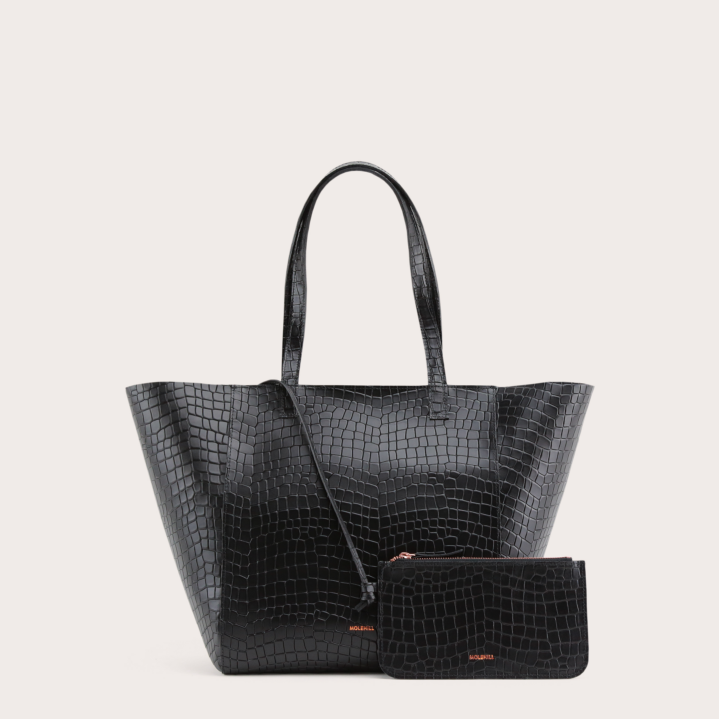 Torba ESTE Medium Zip Shopper Bag Croco Black 2