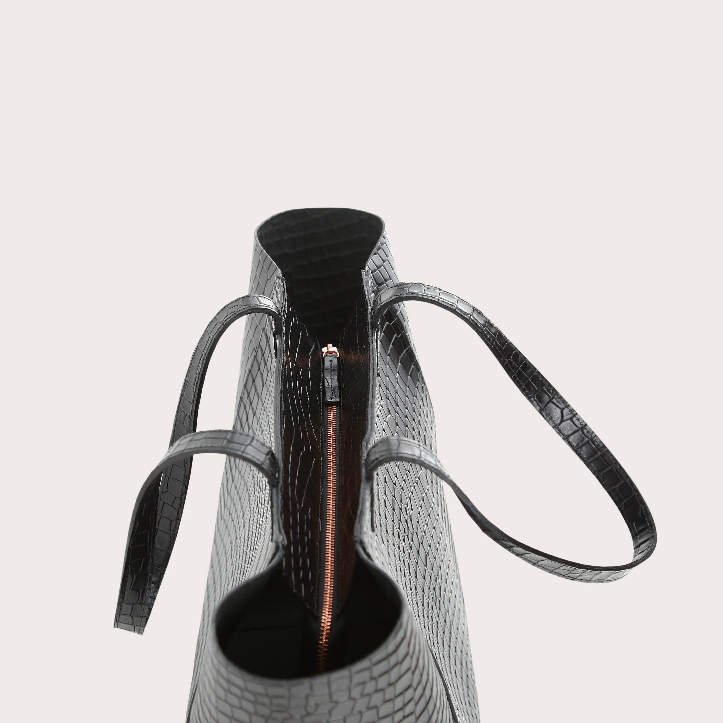 Torba ESTE Medium Zip Shopper Bag Croco Black 4
