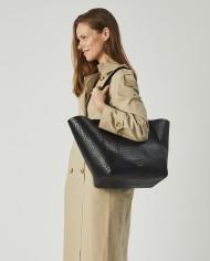 Torba ESTE Medium Zip Shopper Bag Croco Black 5