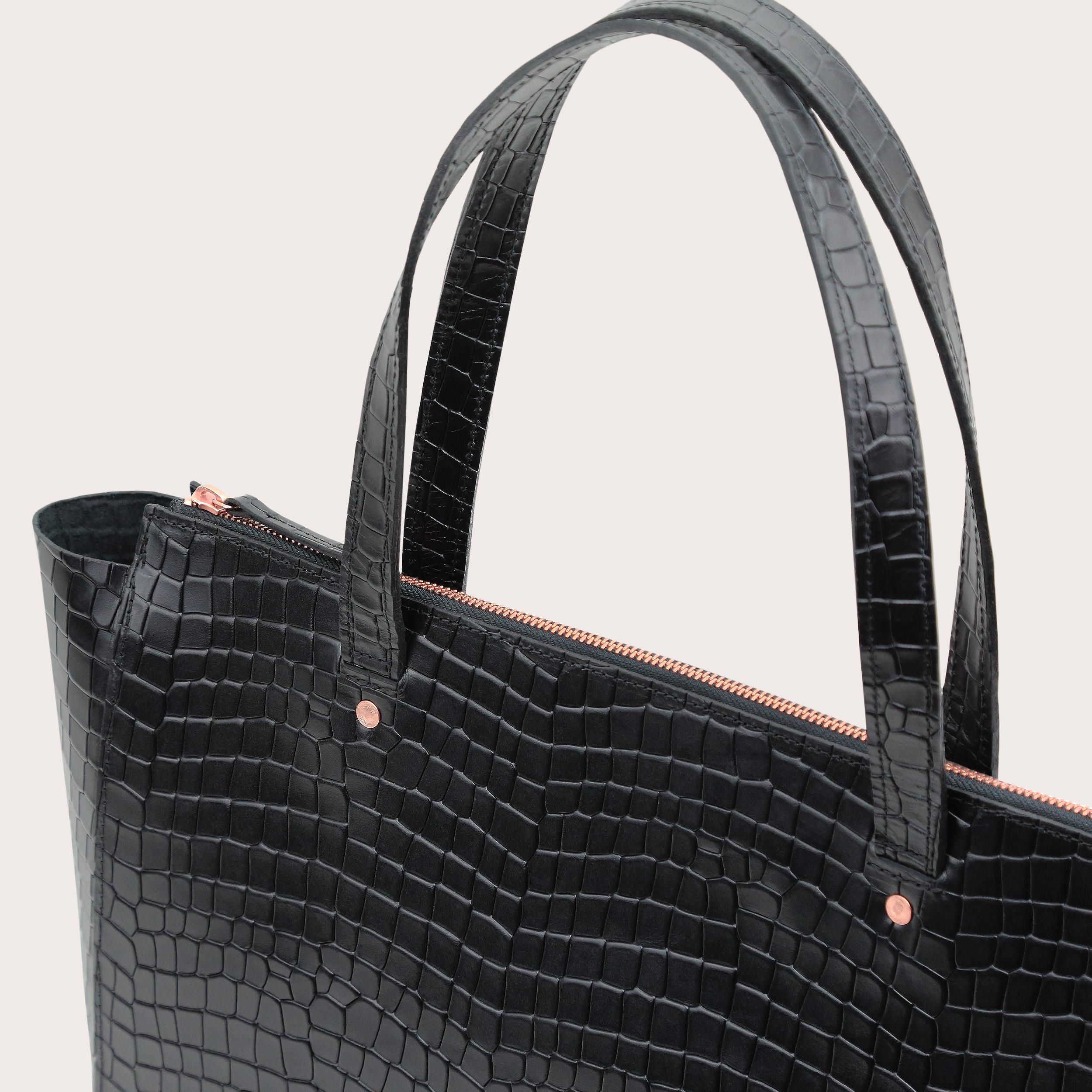 Torba SUR Large Zip Weekender Bag Croco Black 3