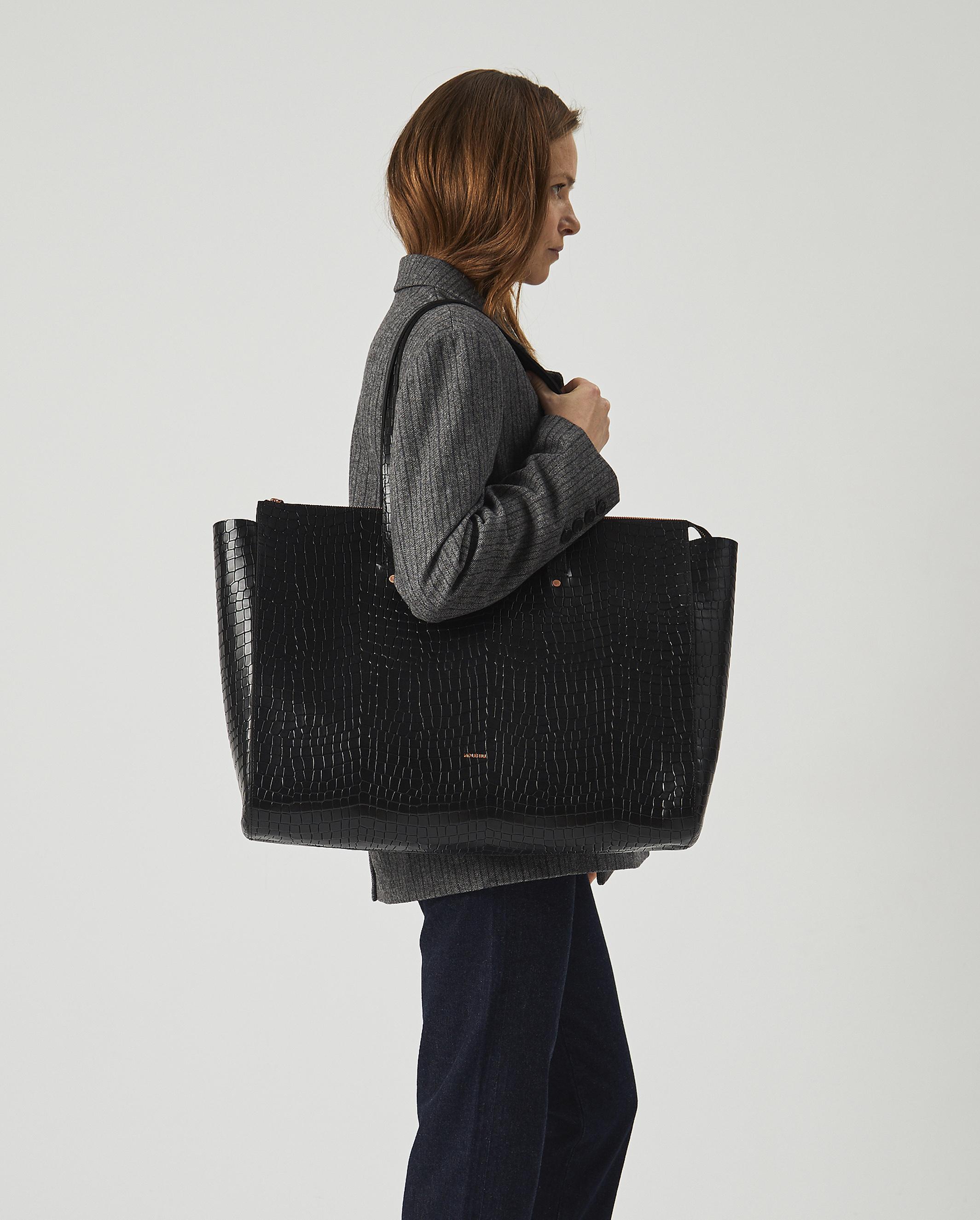 Torba SUR Large Zip Weekender Bag Croco Black 4