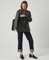 Torba SUR Large Zip Weekender Bag Croco Black 5