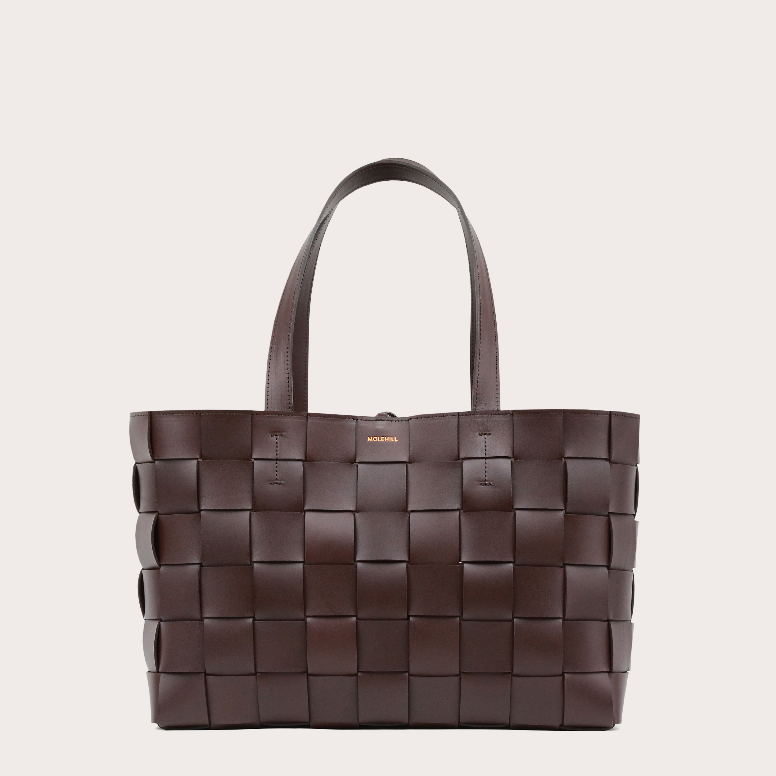 PANE Shopper Woven Bag Horizontal Dark Chocolate-1