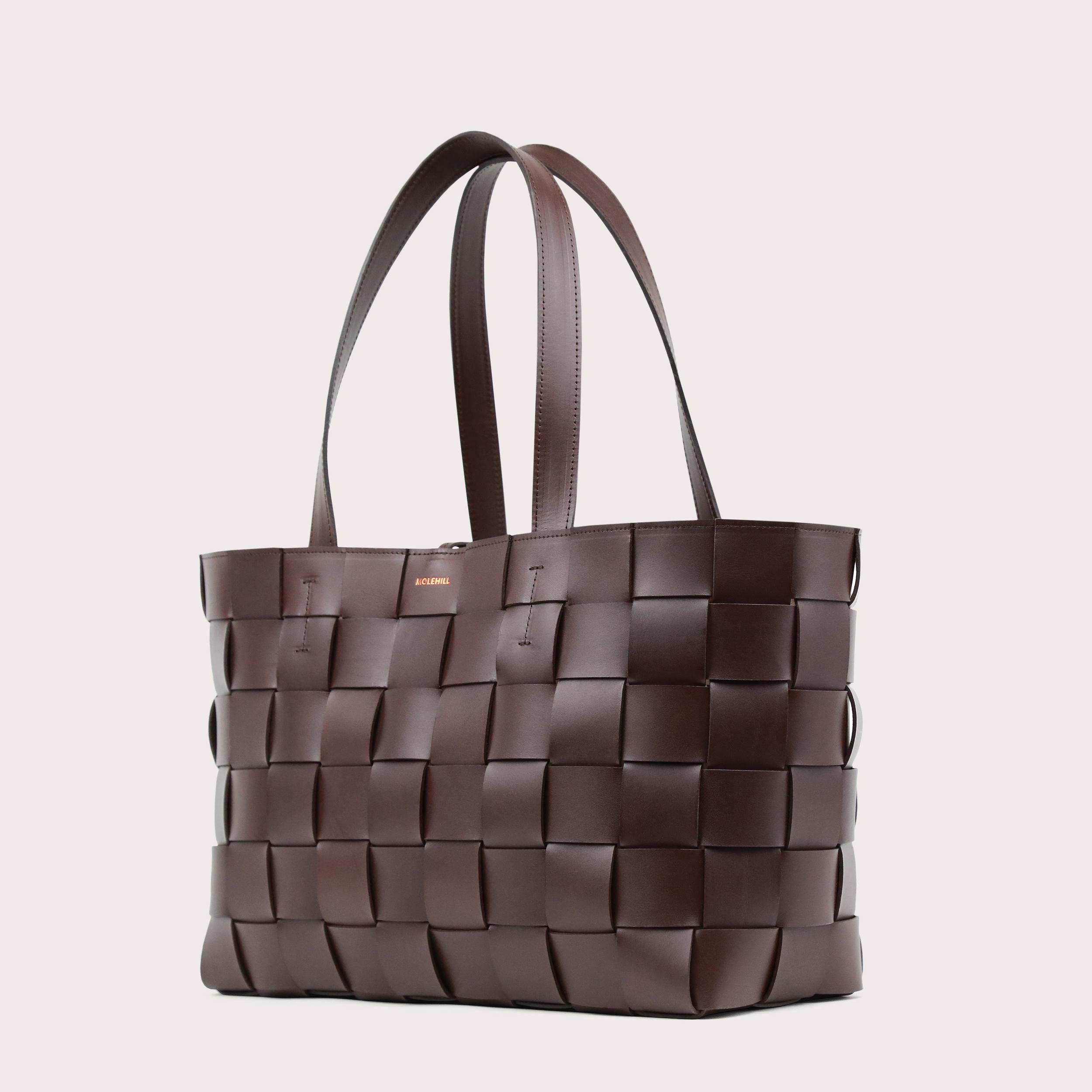 PANE Shopper Woven Bag Horizontal Dark Chocolate-2