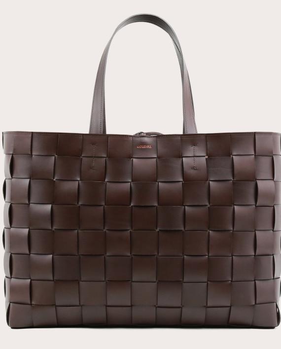 PANE Weekender Woven Bag Dark Chocolate-1