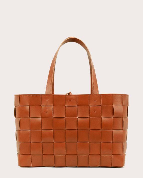 PANE Shopper Woven Bag Horizontal Tan-1