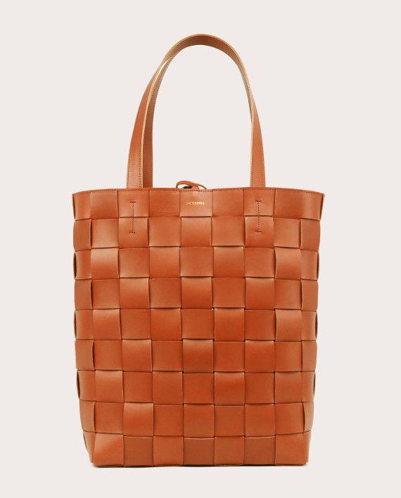 PANE Shopper Woven Bag Vertical Tan-1