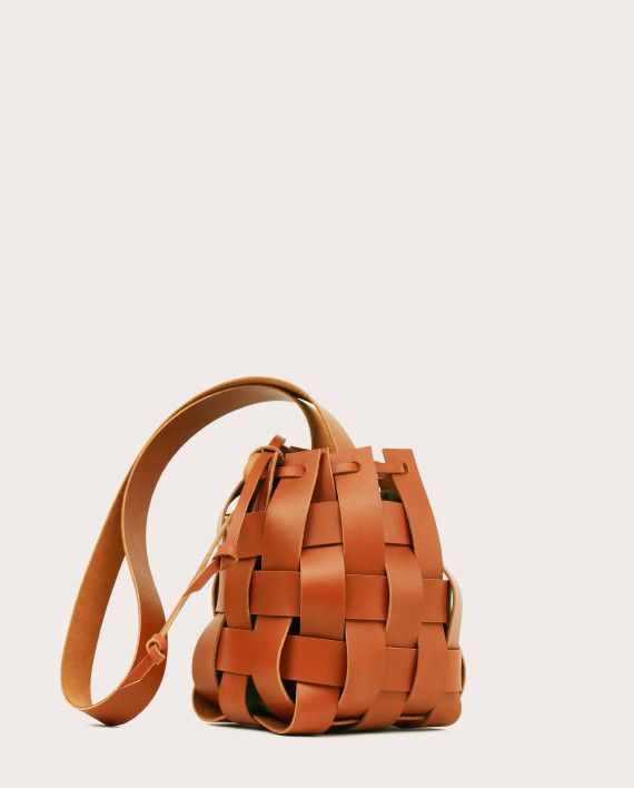 PANE Woven Basket Bag Tan-1