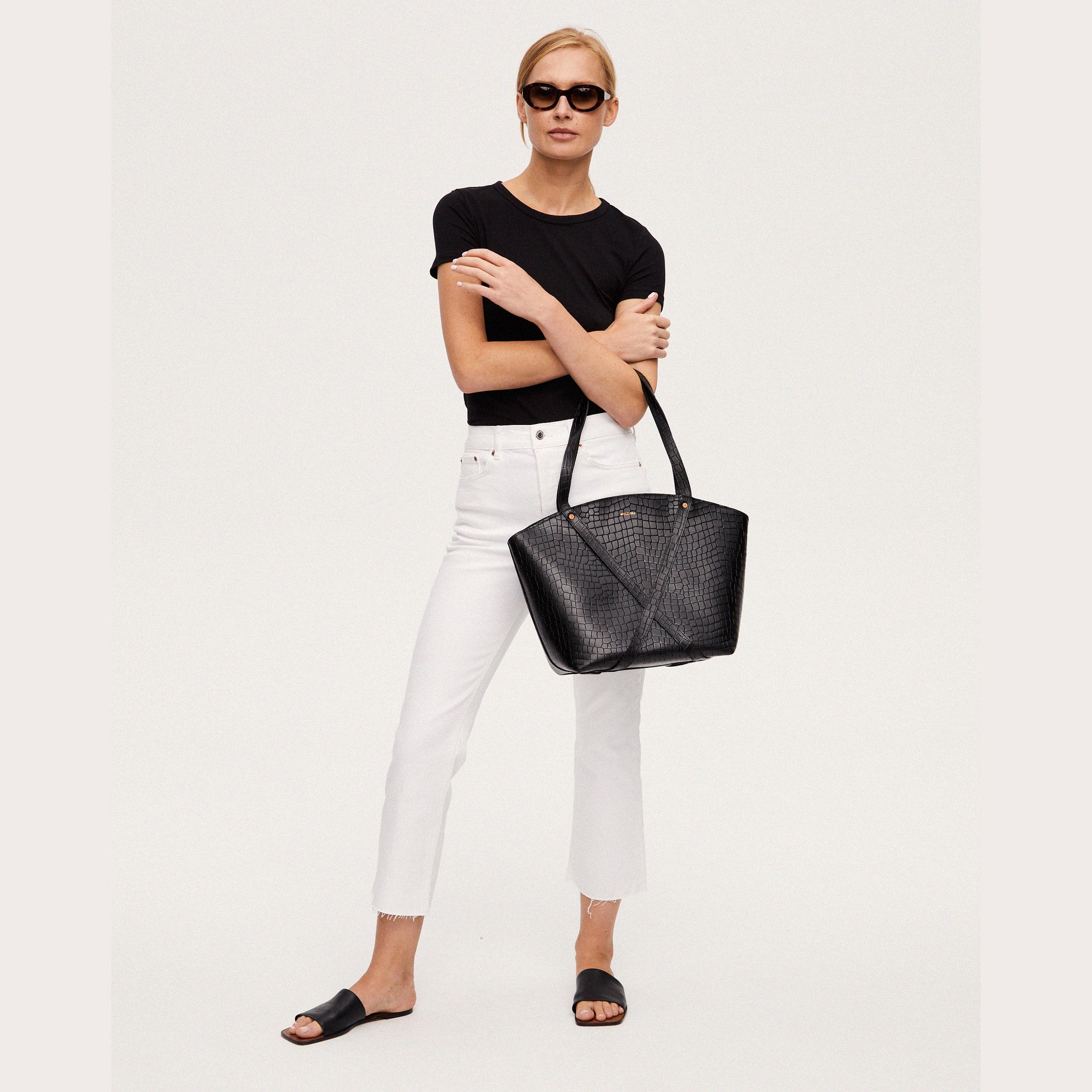 BONDIA Shopper Bag Croco Black-look-1