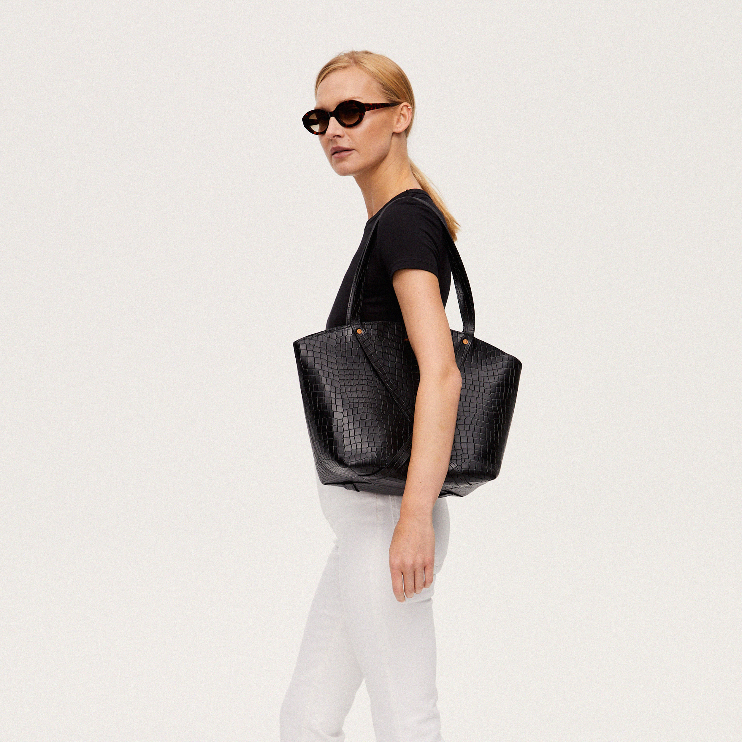 BONDIA Shopper Bag Croco Black-look-2