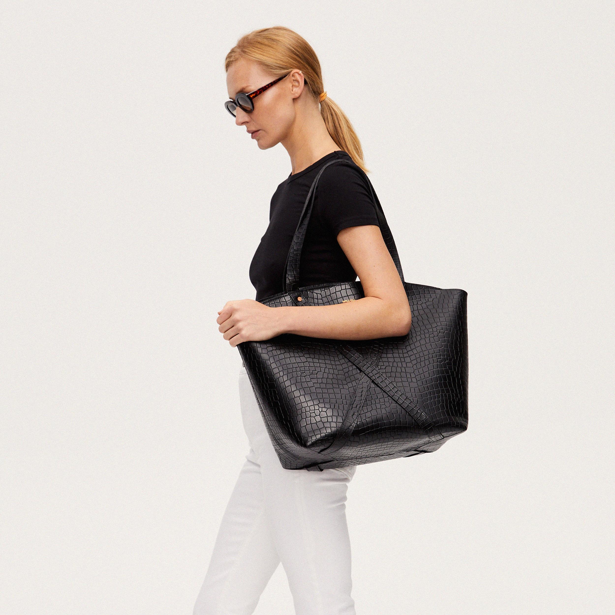 Torba BONDIA Weekender Bag Croco Black-look-1
