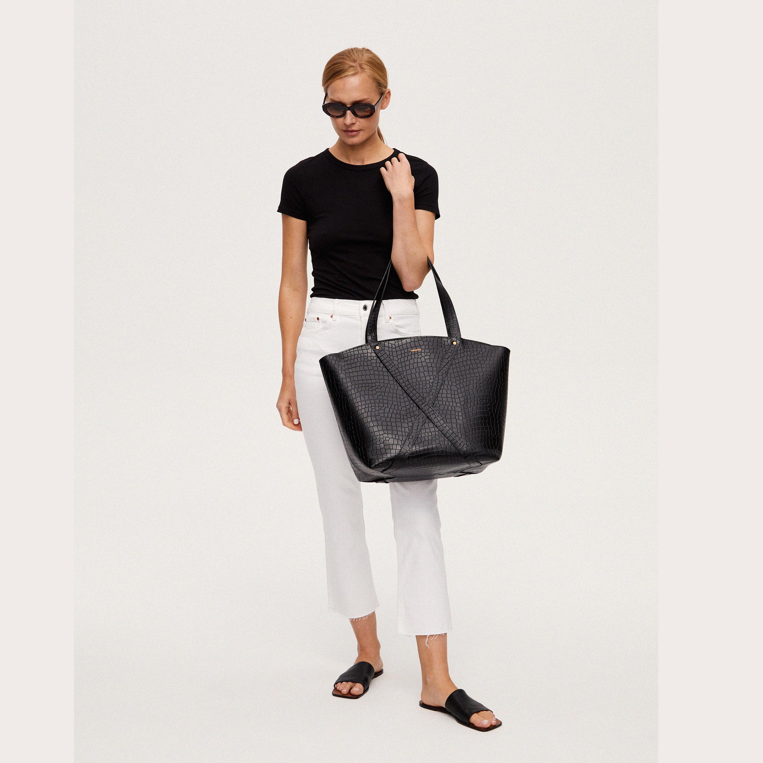 Torba BONDIA Weekender Bag Croco Black-look-2