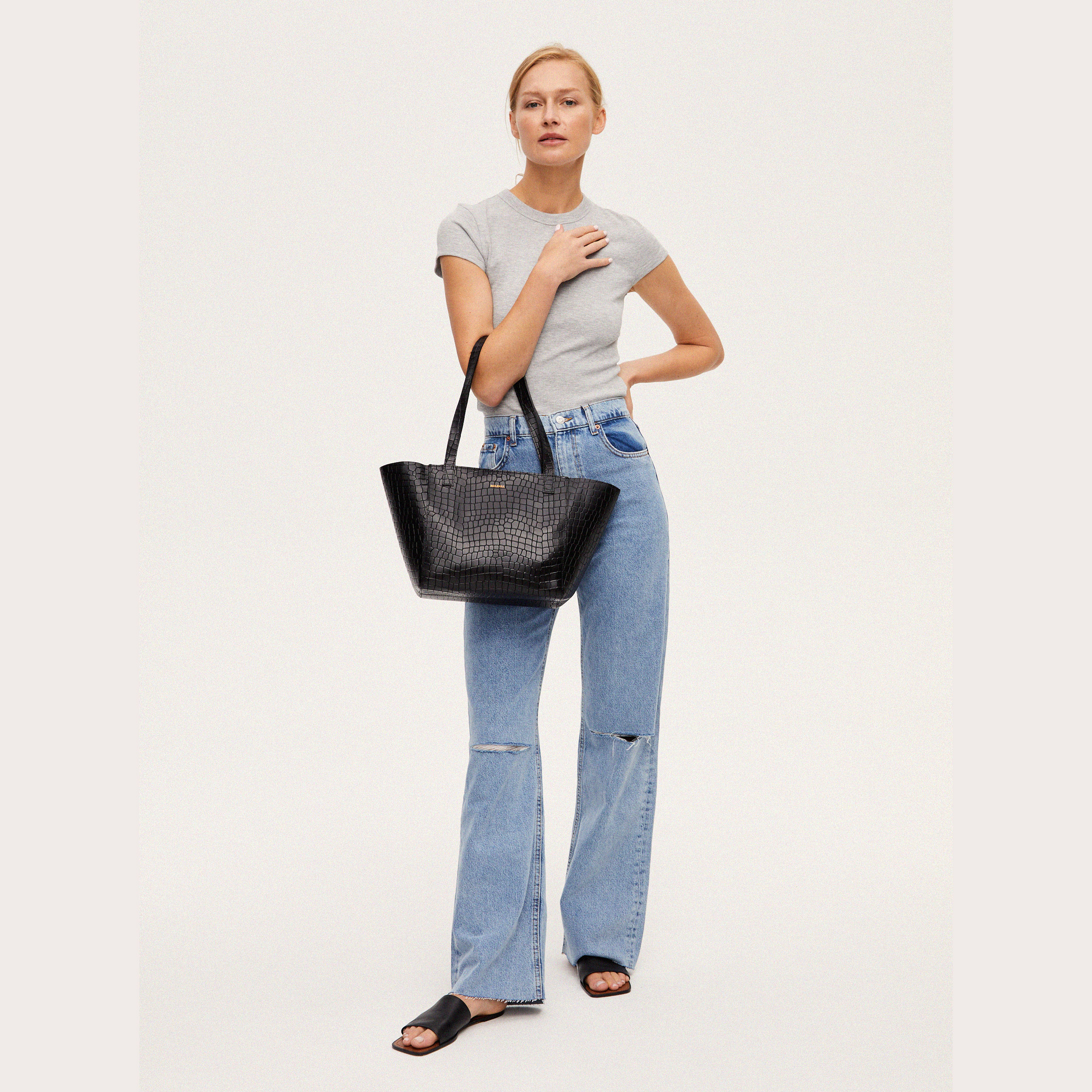 Torba ESTE Regular Zip Shopper Bag Croco Black 1-5