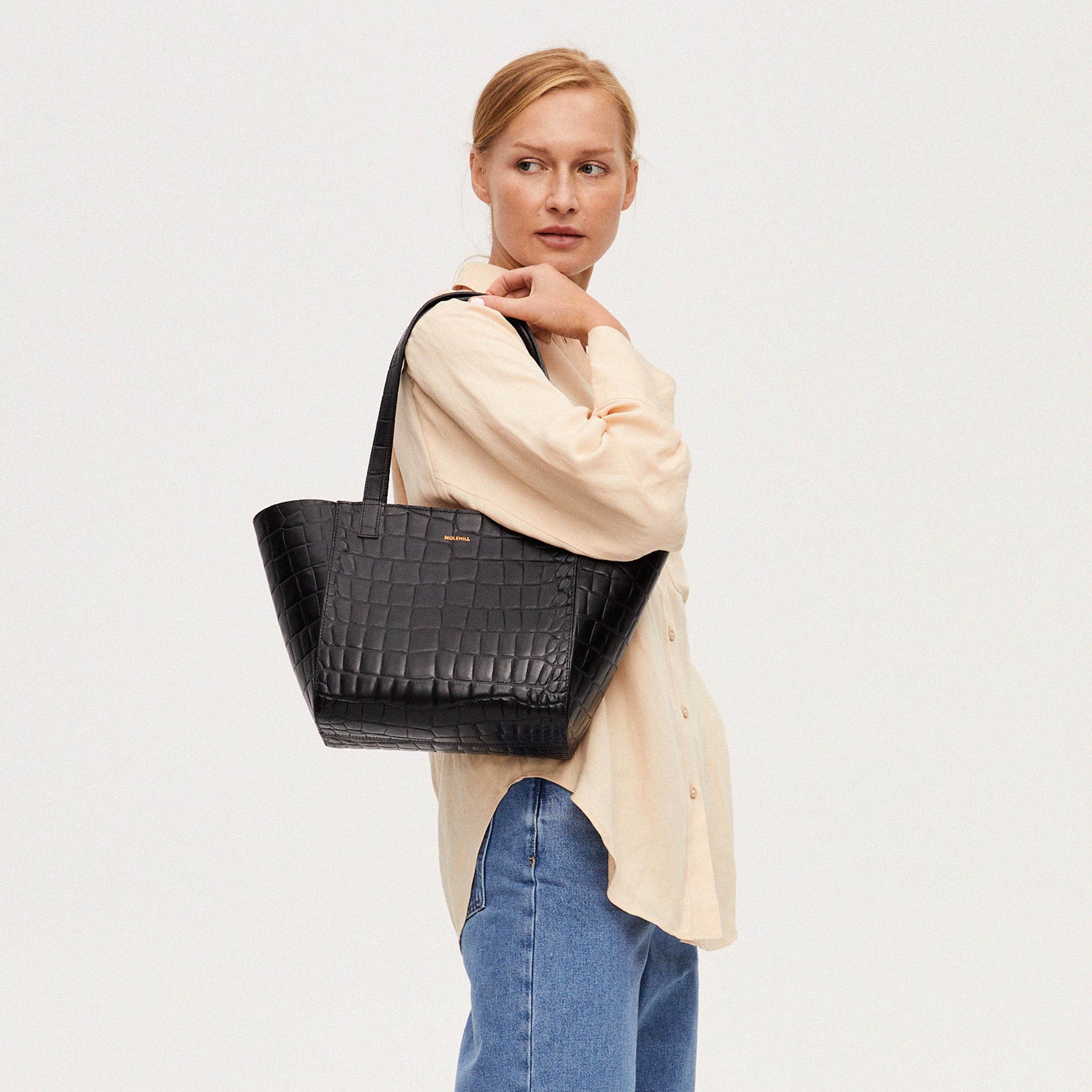 Torba ESTE Regular Zip Shopper Bag Croco Black 2-6