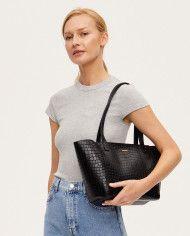 Torba ESTE Regular Zip Shopper Bag Croco Black 1-6