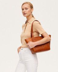 Torba ESTE Regular Zip Shopper Bag Croco Honey-6